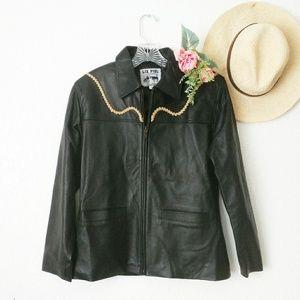 Vintage Liz Piel Western Black Leather Jacket M